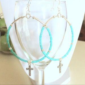 Jewelry - Blue Cross hoop earrings